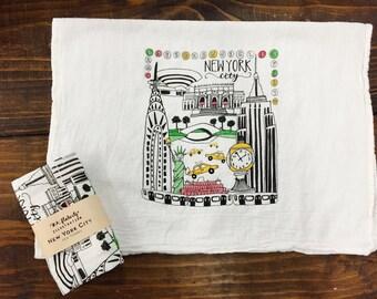 New York City Tea Towel // Screen Printed // Hand Illustrated
