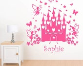 Personalised Fairy Princess Fairytale Castle Girls Name Wall Sticker - Childrens Art Vinyl Decal Transfer - by Rubybloom Designs
