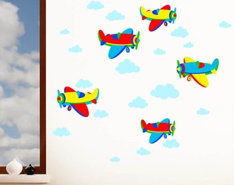 Airplanes & Clouds - Sky, Plane, Vehicle - Boys Childrens Printed Nursery Art Vinyl Wall Stickers - Designed by Rubybloom Designs