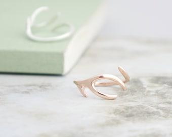 Solid 9K Rose Gold Antler Ring gift for her