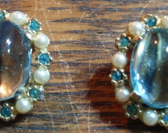 Baby Blue Cabochon/Glass Clip Erraings with rhinestones and faux pearls