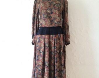 Paisley and Suede Vintage Dress // Vintage Paisley Dress // Bohemian Paisley Dress