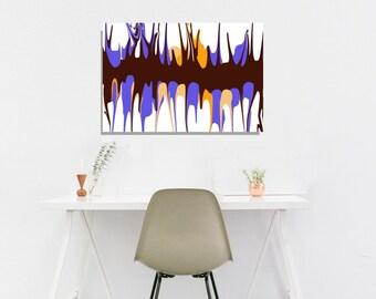 Art Modern Abstract Canvas Art Print, Blue Orange Wall Art, Living Room Bedroom Artwork, Blue Orange Art Print, Contemporary Centerpiece