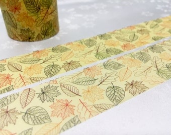 Leaf washi masking tape 10M x 3cm Autumn left Fall leaves Maple masking tape wide tape green leaf deco sticker tape yellow leaves decor gift