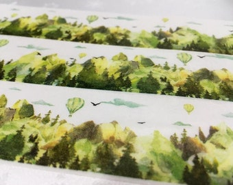 Tree washi tape 10M Green hills Green tree Masking tape Green world scenes green forest green landscape scenes hot air balloon green tape