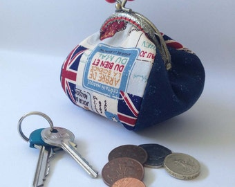 Coin purse, Union Jack, Kiss lock, Change Pouch, Red, White, Blue, Gift for her, Billboard design, flower