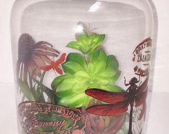 SALE - 50% OFF Faux Succulent Planter, Domed Succulent Planter, Artificial Succulent Arrangement, Cloche, Housewarming, Succulent Gift
