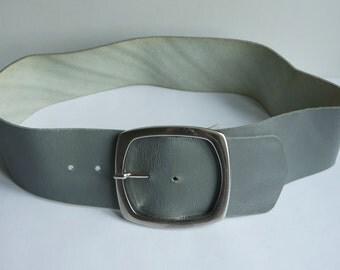 Women's Grey Wide  Belt,  Wide Leather Belt,  Buckle Belt