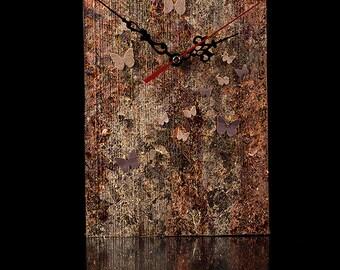 Unique Wall Clock, large,  Metal leaf, wood veneer, Unique, hand decorated, designer Clock,