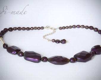 Necklace - purple and silver  (#259567)