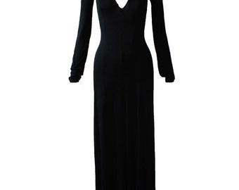 Vintage Stephen Burrows World Black Knit Maxi Dress 1970s