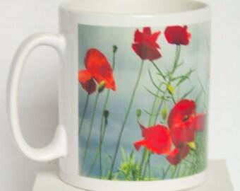 Poppies and sky mug