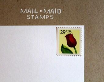Red Tulips || Set of 10 unused vintage postage stamps