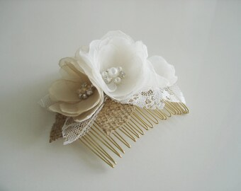 Bridal  Hair Comb Ivory and Champagne Hair Clip Gold Bridal  Hair Accessories Burlap Hairpiece Lace Bridal Hair Piece Rustic  Hair Flower