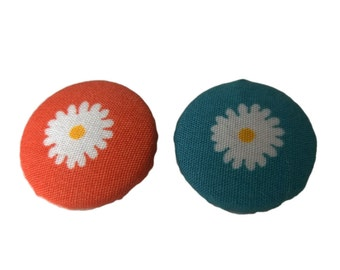 Orange and White Blue and White Daisy Fabric Covered Metal Buttons 22mm