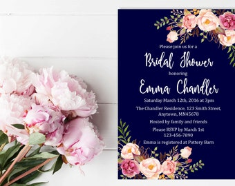 Navy Boho Floral Bridal Shower Invitation, Printable Floral Boho Bridal Shower Invite, Navy Blue Boho Bridal Shower Invite, Download, 110-N