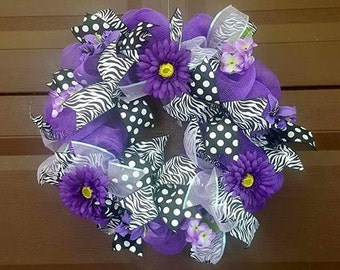 Purple Wreath, Spring Wreath, Summer Wreath, Door Wreath, Door Hanger, Front Door Wreath, Flower Wreath, Floral Wreath, Large Wreath