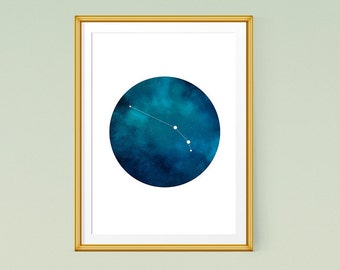Aries print, Zodiac wall art, Zodiac constellation art, Printable zodiac poster, Aries constellation