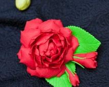 Gardenia flower - Polmer clay handmade brooch