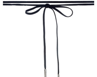 """Black faux suede wrap necklace with silver tone hardware. Approximately 84"""" in length."""