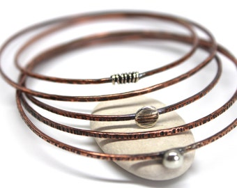 Hammered copper stacking bangles/copper and silver bangles/skinny copper stacking bangles/oxidised copper bangles/birthday gift/boho gift