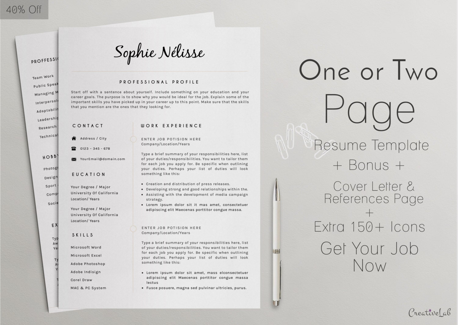 Resume Template Elegant Resume Template For Word CV