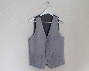 Men's Vest Grey Vest Gray Gentlemen's Vest Mens Waistcoat Formal Fitted Edwardian Victorian Renaissance Steampunk Baroque