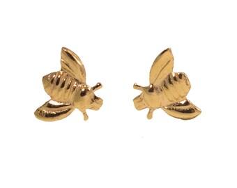 Girls gold earrings - Dainty earrings - Gold stud earrings - Honey bee Earrings - Bee jewelry - Honey bee jewelry - Gold Earrings Fo Girls