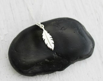 Tiny Feather Necklace - Sterling Silver Tiny Feather Necklace - Boho Feather Necklace - Native American Feather - Feather Jewelry