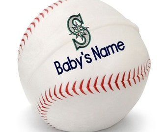 Personalized Baby Seattle Mariners Plush Baseball