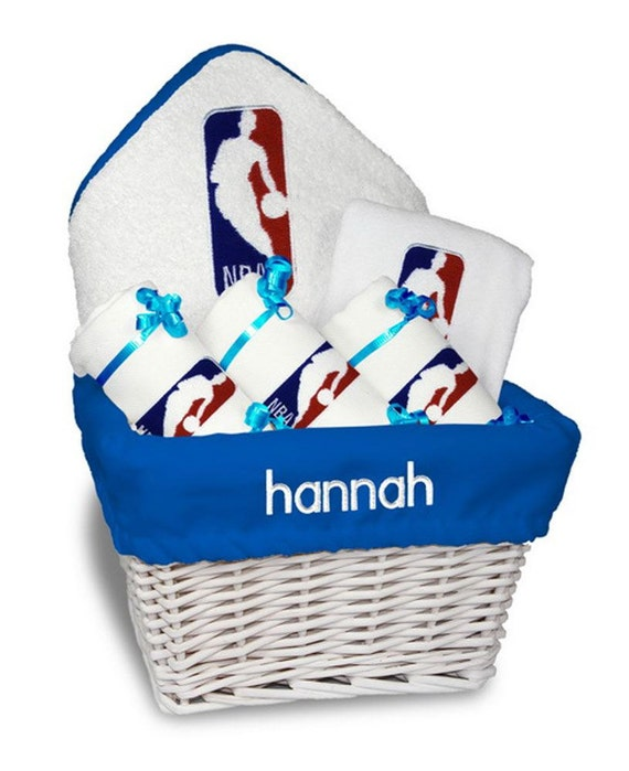 Baby Gift Logo : Personalized nba logo baby gift basket bib burp cloths
