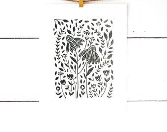 Black Floral Print, Floral Art Print, Flower Art, Lino Print, Printmaking, Linocut Print, Flower Artwork Archival Print, Flora, Scandinavian