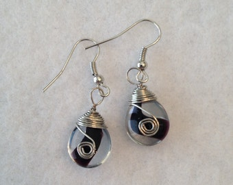 Black and clear glass earrings