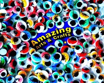 Eyes 500 Self Adhesive Wiggle Googly with Eyelashes Assorted sizes & colours