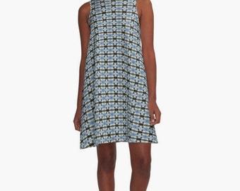 Blue A-line Dress ~ Black Criss Cross Pattern  ~  Geometric Print Dress ~ Casual Dress ~ Comfy Sleeveless Dress ~ Women's XS S M L Xl 2Xl