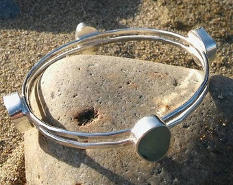 Handmade Sea Glass bangle, Cornish sea glass bangle, Silver bangle, Sterling Silver Bracelet, Beach glass bangle, Sea Glass Jewellery.