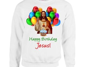 Happy Birthday Jesus Printed Christmas Jumper Alternative Funny