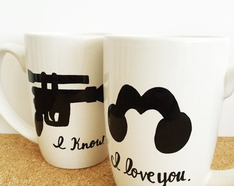 Star Wars Mug, I Love You I Know, Nerdy Gifts, Nerd Couples, Princess Leia Han Solo Mug, Geek Gifts, Valentines Day Gift For Him