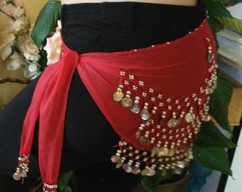 Red belly dance belt