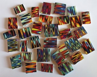 Ceramic Mosaic Tiles - Jewel Tones Wavy Groovy Lines Ripple Water Mosaic Tile - 40 Pieces - For Mosaic Art / Mixed Media Art/Jewelry