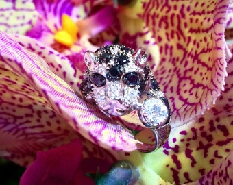 Leopard Ring in Black and White Diamonds on 14K White Gold