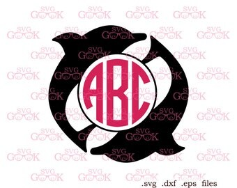 Dolphin SVG cut files, Dolphin Monogram frame svg, cut files for use with Silhouette, Cricut and other Vinyl Cutters, digital cut file