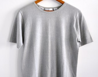 Vintage 90s Minimal Grey Cashmere and Cotton Short Sleeve Top