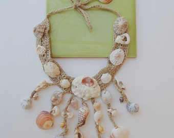 Necklace with shells of Formentera hemp thread