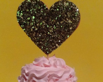 12 Large Gold Glitter Cupcake Toppers