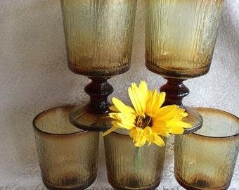 Vintage Retro textured glass wine goblets stemware 1970 stem tumblers
