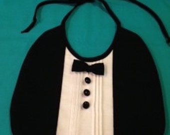 Boys Infant Black Tie Tuxedo Bib