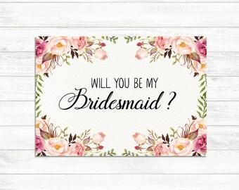 Will You Be My Bridesmaid card, Floral Rustic Bridesmaid card, Bridesmaid Proposal Card, Floral Bridesmaid Card Will you be my made of honor