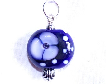 Lampwork pendant - Midnight blue with bubble centre flower - SRA