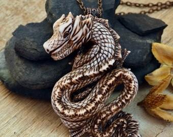 Dragon pendant Polymer clay jewelry Dragon necklace Polymer clay pendant Ivory dragon Large pendant Jewelry for women Dragon jewelry Dragon